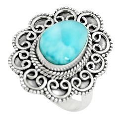 5.35cts natural blue larimar 925 sterling silver solitaire ring size 8 p71110