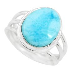 7.40cts natural blue larimar 925 sterling silver solitaire ring size 8 p71175