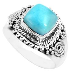 3.58cts natural blue larimar 925 sterling silver solitaire ring size 6.5 p71587