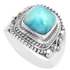 3.27cts natural blue larimar 925 sterling silver solitaire ring size 6.5 p71590