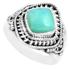 3.42cts natural blue larimar 925 sterling silver solitaire ring size 7.5 p71595