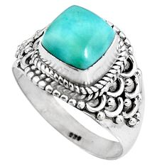 3.37cts natural blue larimar 925 sterling silver solitaire ring size 8 p92513