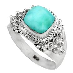 3.36cts natural blue larimar 925 sterling silver solitaire ring size 8.5 p92515