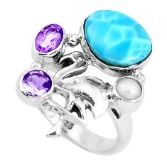 6.73cts natural blue larimar amethyst 925 silver dragon ring size 7.5 p47686