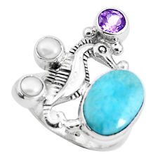 6.73cts natural blue larimar amethyst 925 silver seahorse ring size 7 p47692