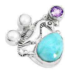 6.72cts natural blue larimar amethyst 925 silver seahorse ring size 6.5 p47694