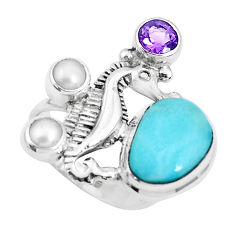 6.31cts natural blue larimar amethyst 925 silver seahorse ring size 6.5 p47698