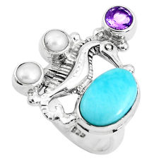 7.02cts natural blue larimar amethyst 925 silver seahorse ring size 7 p47709