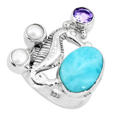 7.23cts natural blue larimar amethyst 925 silver seahorse ring size 7.5 p47715
