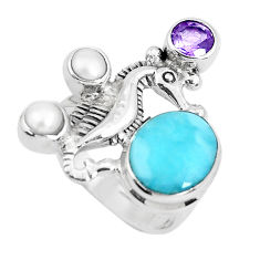 6.91cts natural blue larimar amethyst 925 silver seahorse ring size 7 p47720