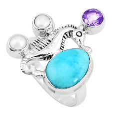 7.22cts natural blue larimar amethyst 925 silver seahorse ring size 7.5 p47735