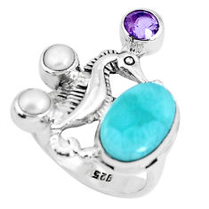 6.42cts natural blue larimar amethyst 925 silver seahorse ring size 7 p47740