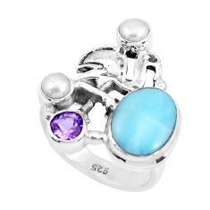 7.43cts natural blue larimar amethyst 925 sterling silver ring size 8.5 p47688
