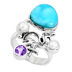 6.73cts natural blue larimar amethyst 925 sterling silver ring size 7.5 p47689