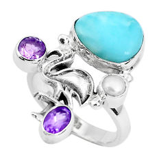 7.82cts natural blue larimar amethyst 925 sterling silver ring size 8.5 p47708