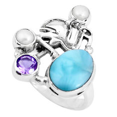 6.61cts natural blue larimar amethyst 925 sterling silver ring size 8 p47711