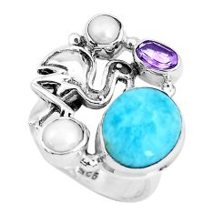 6.82cts natural blue larimar amethyst 925 sterling silver ring size 6.5 p47719