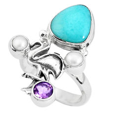 7.22cts natural blue larimar amethyst 925 sterling silver ring size 8.5 p47738