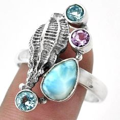6.13cts NATURAL BLUE LARIMAR AMETHYST TOPAZ 925 SILVER SNAIL RING SIZE 10 G89770