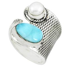 5.01cts natural blue larimar pearl 925 silver adjustable ring size 7 p66922