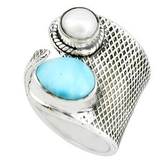 4.82cts natural blue larimar pearl 925 silver adjustable ring size 7 p66923