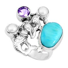 5.62cts natural blue larimar pearl 925 silver fairy mermaid ring size 7.5 p47682