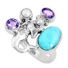 7.11cts natural blue larimar pearl 925 silver fairy mermaid ring size 8 p47714