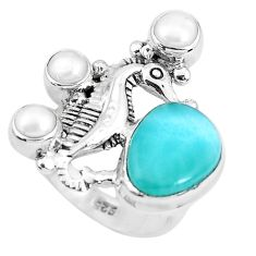 6.53cts natural blue larimar pearl 925 silver seahorse ring size 6.5 p47699