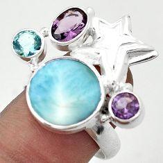 NATURAL BLUE LARIMAR ROUND AMETHYST 925 SILVER STAR OF DAVID RING SIZE 8 H42418