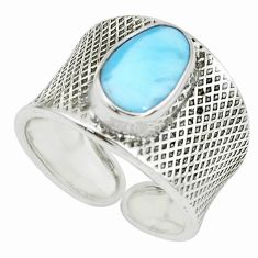 4.40cts natural blue larimar silver adjustable solitaire ring size 8.5 p66911
