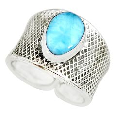 4.94cts natural blue larimar silver adjustable solitaire ring size 7.5 p71312
