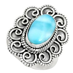 5.01cts natural blue larimar solitaire 925 sterling silver ring size 7 p71068