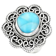 5.35cts natural blue larimar solitaire 925 sterling silver ring size 7 p71078