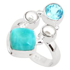 7.07cts natural blue larimar topaz 925 sterling silver ring size 7.5 p52593