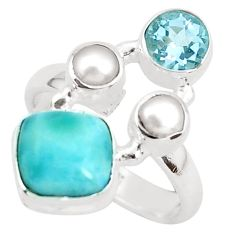6.83cts natural blue larimar topaz 925 sterling silver ring size 6.5 p52595