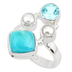 6.76cts natural blue larimar topaz 925 sterling silver ring size 6.5 p52600