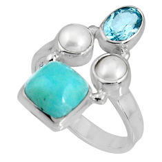 6.31cts natural blue larimar topaz pearl 925 sterling silver ring size 8 p90702