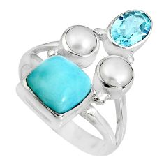 6.58cts natural blue larimar topaz pearl sterling silver ring size 6.5 p90707