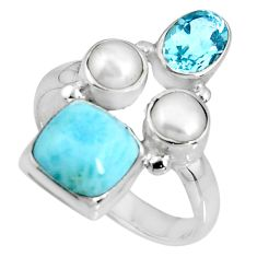 6.31cts natural blue larimar topaz pearl sterling silver ring size 7.5 p90710