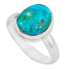 4.80cts natural blue opaline 925 sterling silver solitaire ring size 7 d32187