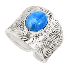 4.74cts natural blue owyhee opal 925 silver solitaire ring size 7.5 p51090