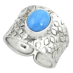 4.22cts natural blue owyhee opal 925 silver solitaire ring size 9.5 p61387