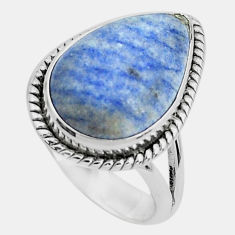 7.66cts natural blue quartz palm stone 925 silver solitaire ring size 7.5 p46965