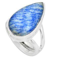 9.86cts natural blue quartz palm stone 925 silver solitaire ring size 5.5 p61487