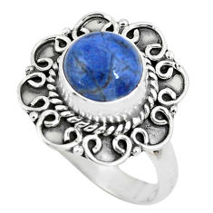 3.01cts natural blue quartz palm stone 925 silver solitaire ring size 7.5 p63107
