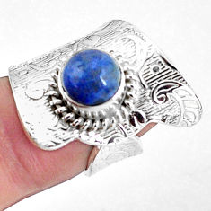 3.41cts natural blue quartz palm stone silver adjustable ring size 6.5 p57037