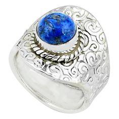 3.29cts natural blue quartz palm stone silver adjustable ring size 7.5 p57116