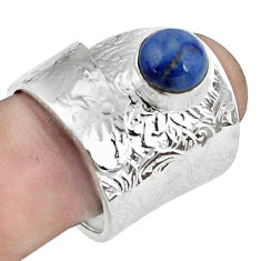 Natural blue quartz palm stone silver solitaire adjustable ring size 7.5 p57013