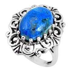 6.54cts natural blue shattuckite 925 silver solitaire ring jewelry size 6 d31294