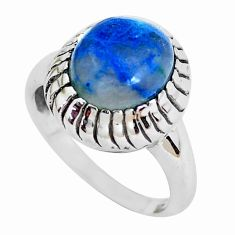 Clearance Sale- 5.30cts natural blue shattuckite 925 silver solitaire ring jewelry size 9 d31299